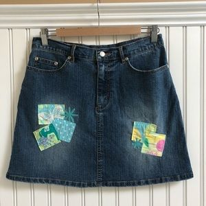VTG Lilly Pulitzer Stretch Denim Patchwork…